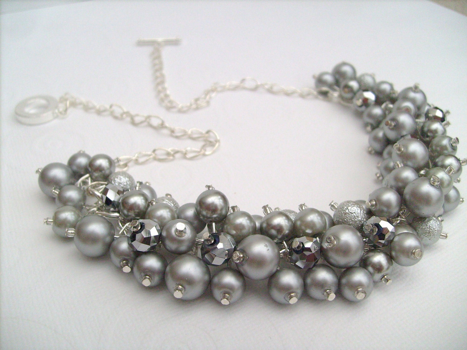 Pearl Beaded Necklace Bridal Jewelry Cluster Necklace