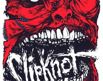 Slipknot in Houston 2009 hand drawn limited edition screenprinted poster