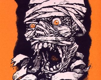 Screaming Mummy limited edition screenprint