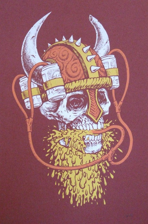 Viking Beer Helmet limited edition hand drawn and printed screenprint