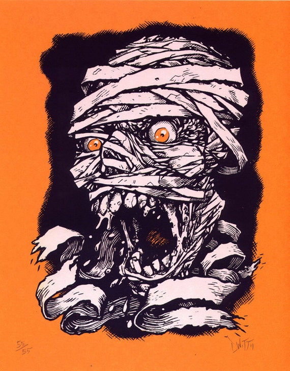 Screaming Mummy limited edition screenprint