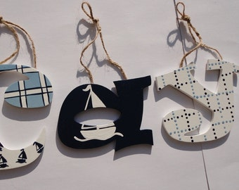 Wooden wall letters - Hand painted nautical theme, sailboats and navy