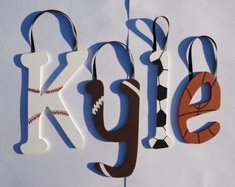 Custom hand painted wooden wall letters - Sports, basketball, soccer, baseball, football