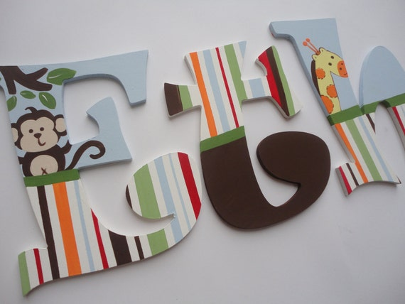 Custom Hand Painted Wooden Wall Letters Jungle Jubilee