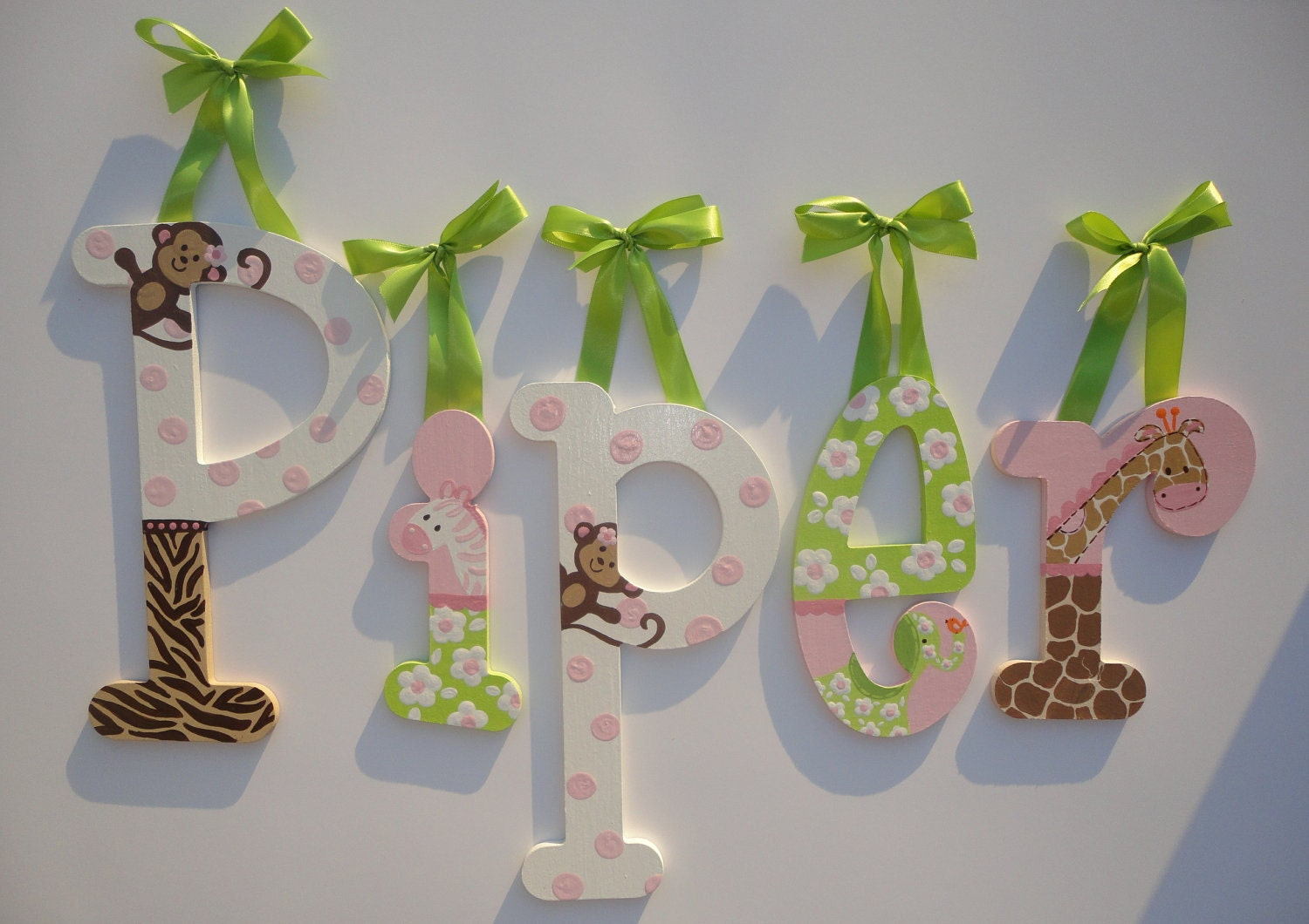 Jungle Jill Wall Decor : Custom hand painted wooden wall letters jungle jill