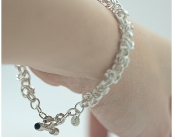 Byzantine Weave Bracelet with Sapphires - Sterling Silver