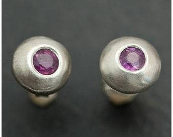 Color Change Purple Sapphire on the Rocks - Sterling Silver Earrings