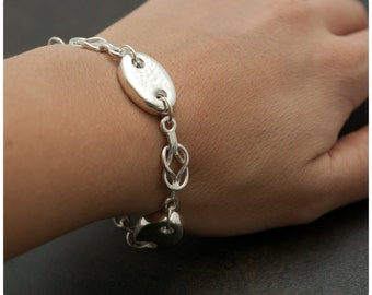 Sailor Love Knot - Anchor Links Sterling Silver Bracelet