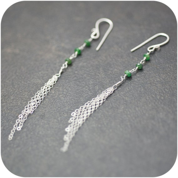 Delicate Sterling Silver Tassels and Tsavorite Earrings