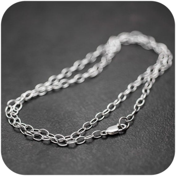 Solid Sterling Silver Chain - Oval Link Chain with Lobster Clasp