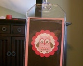 Custom Pink and Brown Owl Luggage Tag--Personalized with Your Information