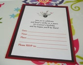 Set of 10 Bowling Party Invitations--Perfect for Birthday and Class Parties