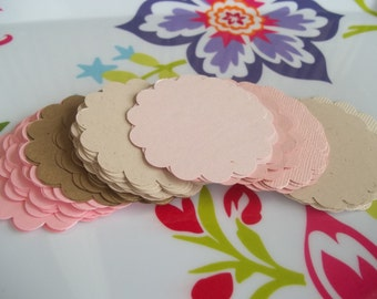 50 Scalloped Circles in 2 inch Size--Pink and Brown Neopolitan Mix