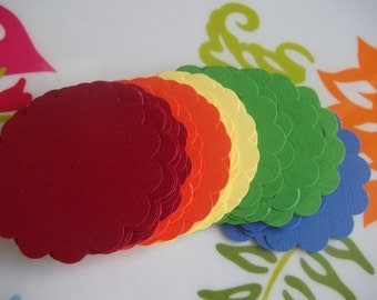 50 Scalloped Circles in 2 inch Size--Rainbow Mix