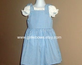 Blue and White Gingham Dorothy Costume Knot Dress size 3 6 9 12 18 month mo 2T 3T 4T 5 6 ....... By Girlie Bows