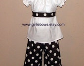 Brown and Big White Polka Dot Ruffled Pants or Capris size 6 12 18 24 month mo 2T 3T 4T 5T 6 7 ... By Girlie Bows