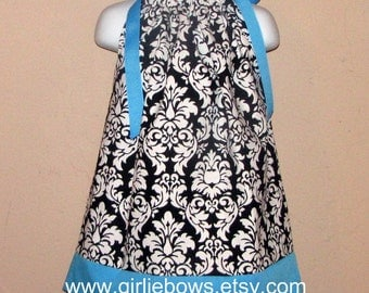 Turquoise Blue and Damask Pillowcase Dress 3 6 9 12 18 month mo 2T 3T 4 5 6 ... By Girlie Bows