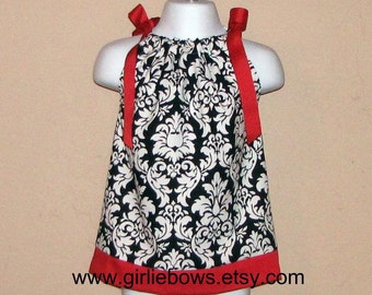 Holiday Black and White Damask with Red Pillowcase Dress 3 6 9 12 18 month mo 2T 3T 4 5 6