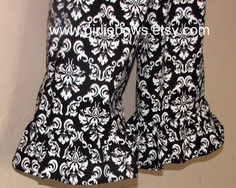 Black and White Damask Ruffled Pants or Capris size 6 12 18 24 month mo 2T 3T 4T 5T 6 7