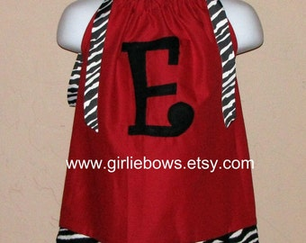 Red, Hot Pink or Lime Green Zebra Initial Pillowcase Dress or Top ... By Girlie Bows..