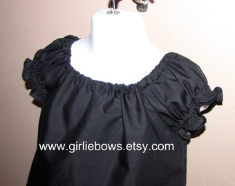 Classic Black Peasant Top Shirt Size 6 12 18 24 month mo 2T 3T 4T 5T 6 7