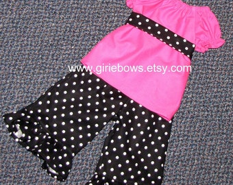 Black and White Polka Dot Ruffled Pants or Capris size 6 12 18 24 month mo 2T 3T 4T 5T 6 7