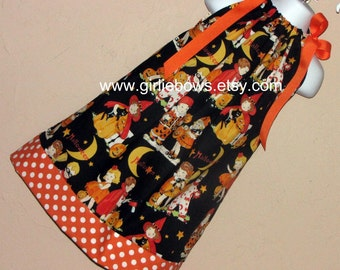 Halloween Trick or Treat Pillowcase Dress or Top 3 6 9 12 18 month mo 2T 3T 4T 5 6 ... By Girlie Bows