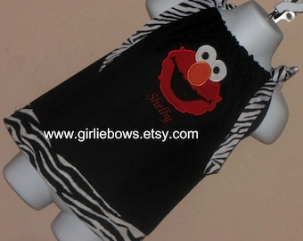 Elmo Inspired Personalized Zebra and Black Pillowcase Dress or Top 3 6 9 12 18 month mo 2T 3T 4 5 6 ... By Girlie Bows