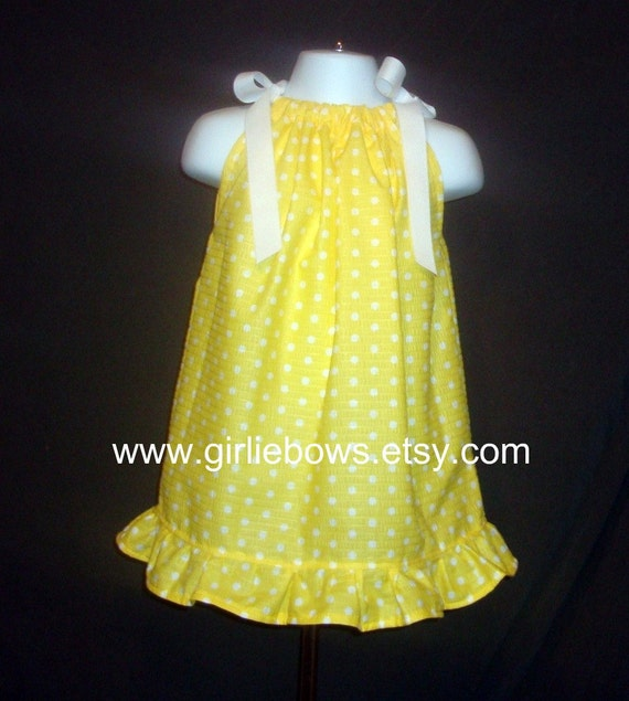 LAST ONE .. Lemon Dot Pillowcase Dress or Top size 3 6 9 12 18 month mo 2T 3T 4T 5 6 ... By Girlie Bows