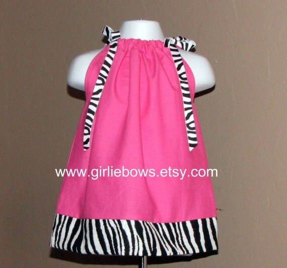 Hot Pink Zebra  Lime Green Zebra or Red Zebra Pillowcase Dress or Top 3 6 9 12 18 month mo 2T 3T 4T 5 6 ... By Girlie Bows