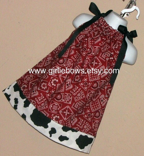 Cowgirl Bandana Red or Pink or Blue Pillowcase Dress perfect for a Birthday Party size 3 6 9 12 18 month mo 2T 3T 4 5 6
