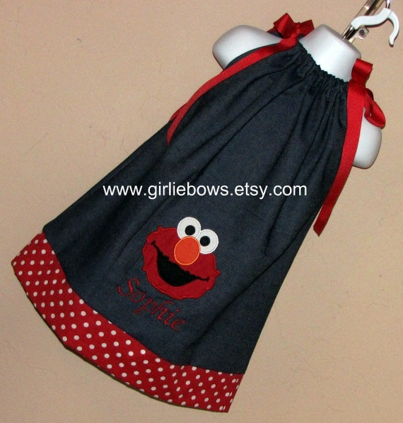 Elmo Inspired Personalized Denim Pillowcase Dress or Top 3 6 9 12 18 month mo 2T 3T 4 5 6 ... By Girlie Bows