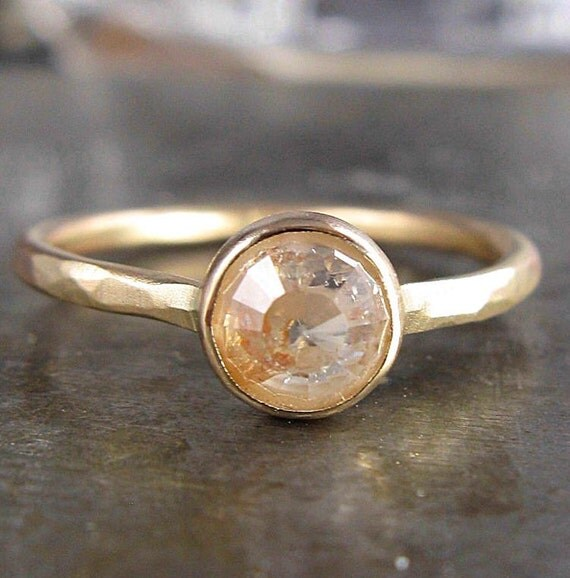 6mm Peach Champagne Rose Cut Raw Diamond and Recycled 14k Gold Ring - 1.20 Carats of Bliss