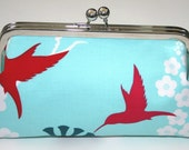 Clutch Purse Aqua Red Hummingbird Bridesmaid Clutch