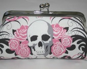 Clutch Purse PINK SKULLS 'n' ROSES Clutch Bag