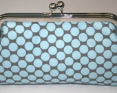 Blue Polka Dot On Grey Bridesmaid Clutch/Purse/Handbag/Gift