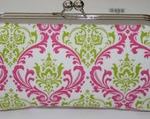 Hot Pink Chartreuse Green Damask Bridesmaid Clutch/Gift/Purse