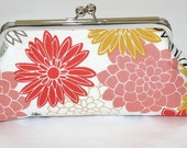 Coral Peach Yellow Grey White Floral Bridesmaid Clutch