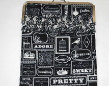 iPad Case/iPad Clutch/Kindle Fire HD 8.9 Case, iPad Cover, Lenova yoga Case, Laptop Sleeve, Black and Cream French Labels with Ruffle