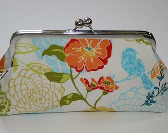 Bridesmaid Clutch Purse, Bridal Clutch Blue Chartreuse Yellow Orange Birds Clutch Purse