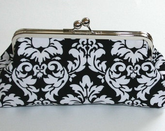 Bridesmaid Clutch Black and White Dandy Damask Clutch Purse