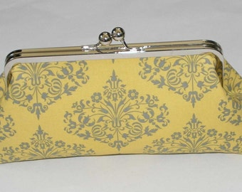 Bridesmaid Clutch Yellow Gray Amy Butler Fountains Clutch