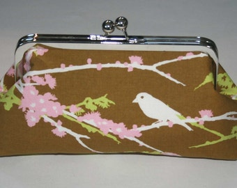 Clutch/Purse/Handbag/Wallet Olive Pink Ivory Bird