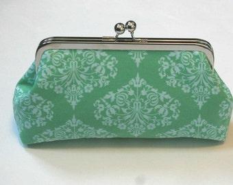 Mint Bridesmaid Clutch/Purse/Handbag  in Green Park Fountains