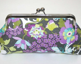 Personalized gift for Her, Bridesmaid Gift, Grey Floral clutch purse,Clutch Purse Grey Lavendar Teal Chartreuse Floral Wedding Party Gift