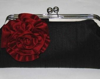 Clutch/Handbag/Purse Black Dupioni with Cherry Red Blossom Clutch Bag