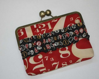 Nook HD Case/Kindle Fire Case/ Nexus 7 Case/iPad Mini Case Clutch Red and Black Numbers and Letters with Ruffle