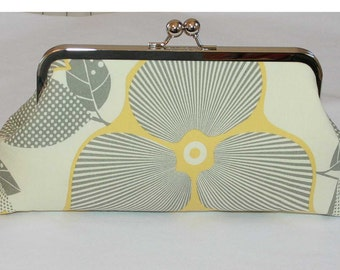 Yellow Grey Clutch/Bridesmaid Clutch Amy Butler Optic Blossom Linen