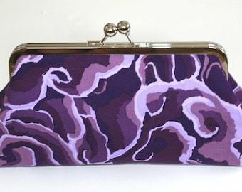 Purple clutch purse, Kiss Lock Frame Clutch, Purple Evening Bag, Lavender Wedding Purse,Small purple handbag, Purple fabric clutch