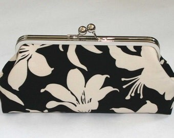 Bridesmaid Clutch Black Cream Manzanita Lillies Purse
